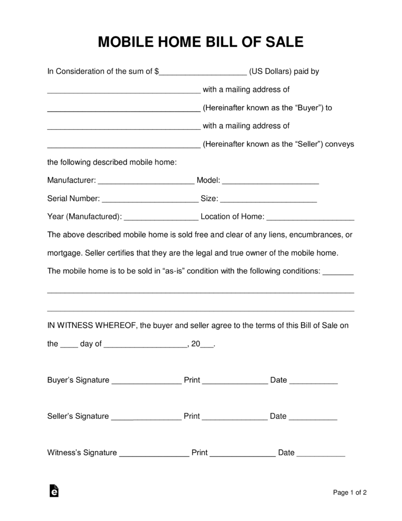 Free Mobile (Manufactured) Home Bill of Sale Form - PDF | Word ...