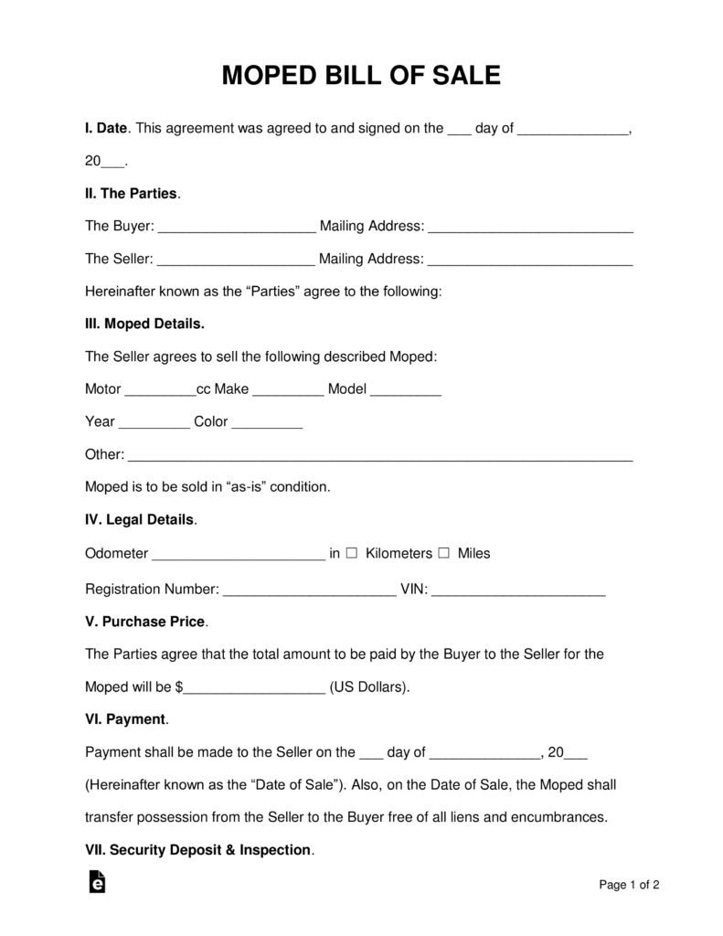 Free Moped Scooter Bill Of Sale Form Pdf Word