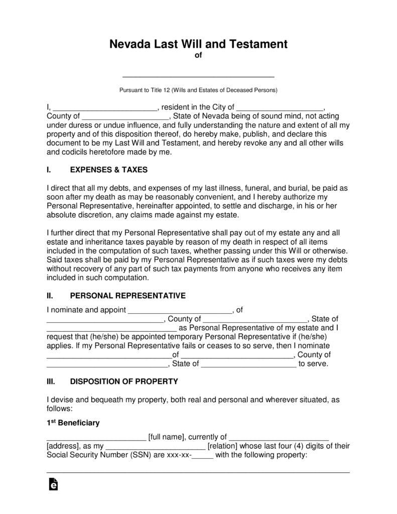Free Nevada Last Will And Testament Template   PDF | Word | EForms U2013 Free  Fillable Forms  General Affidavit Sample