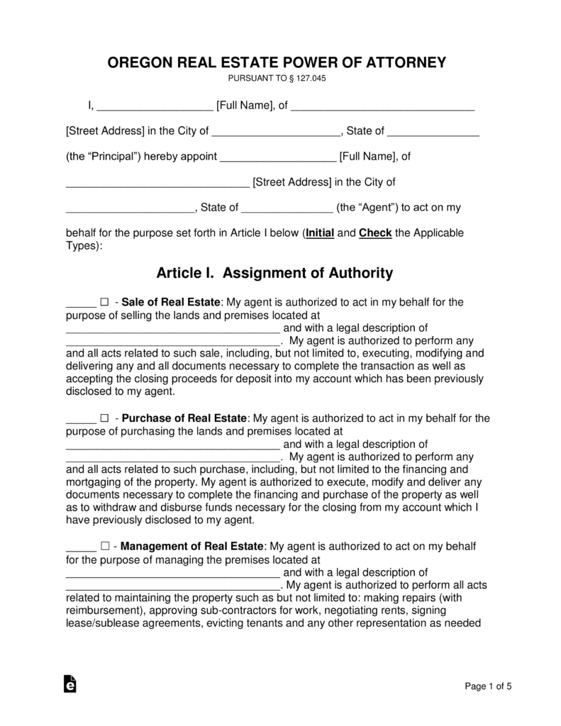 Free Oregon Real Estate Power Of Attorney Form Word Pdf Eforms
