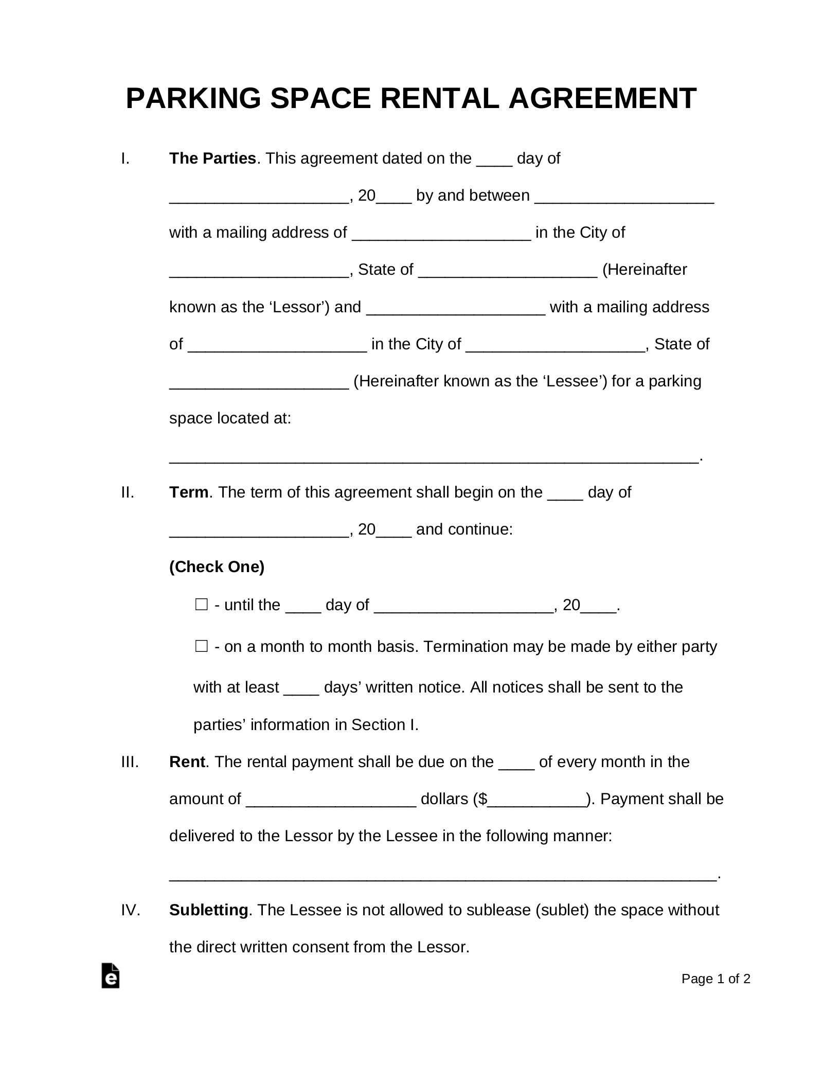 Free Parking Space Rental Lease Agreement Template Pdf