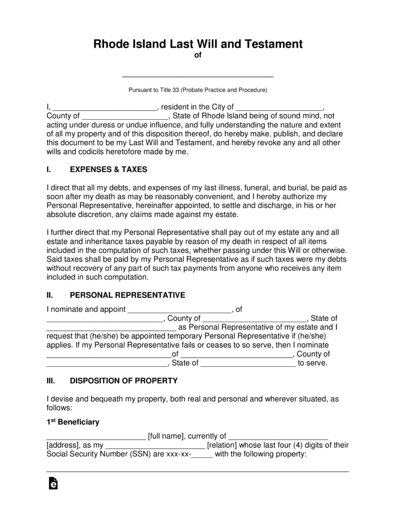Free Rhode Island Last Will and Testament Template - PDF | Word ...