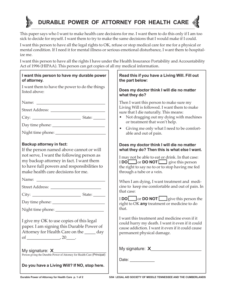 free tennessee medical durable power of attorney form - pdf | eforms