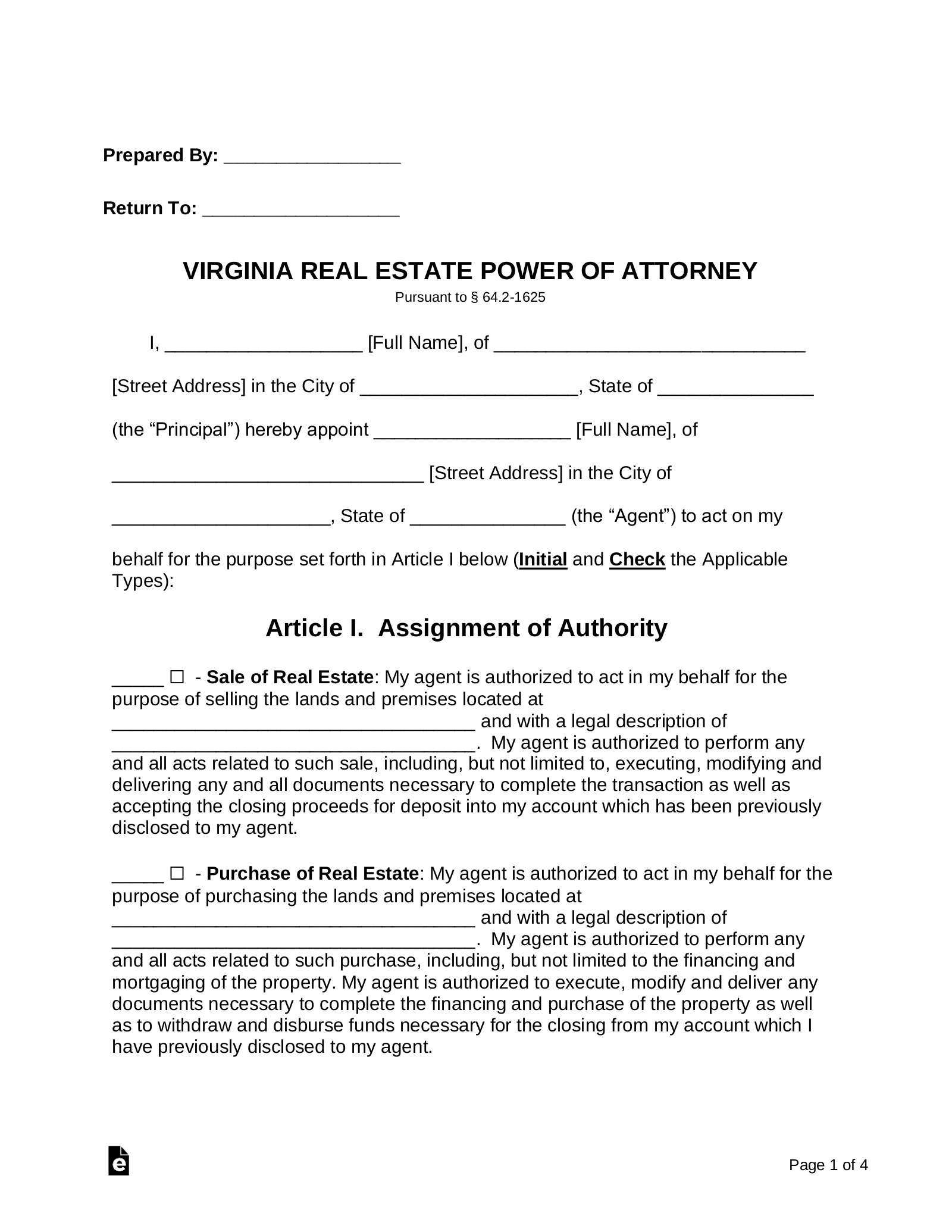 power of attorney form virginia  Free Virginia Real Estate Power of Attorney Form - Word ...