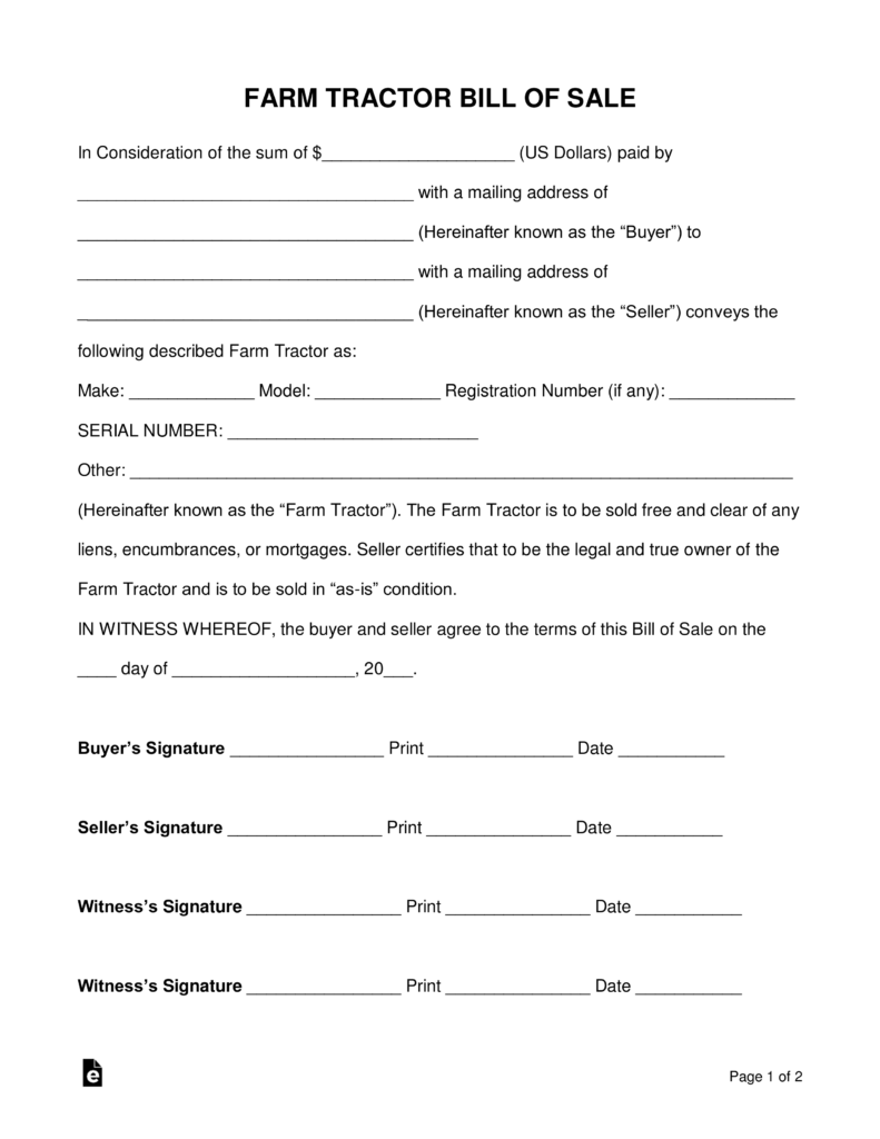 Free Farm Tractor Bill Of Sale Form   PDF | Word | EForms U2013 Free Fillable  Forms