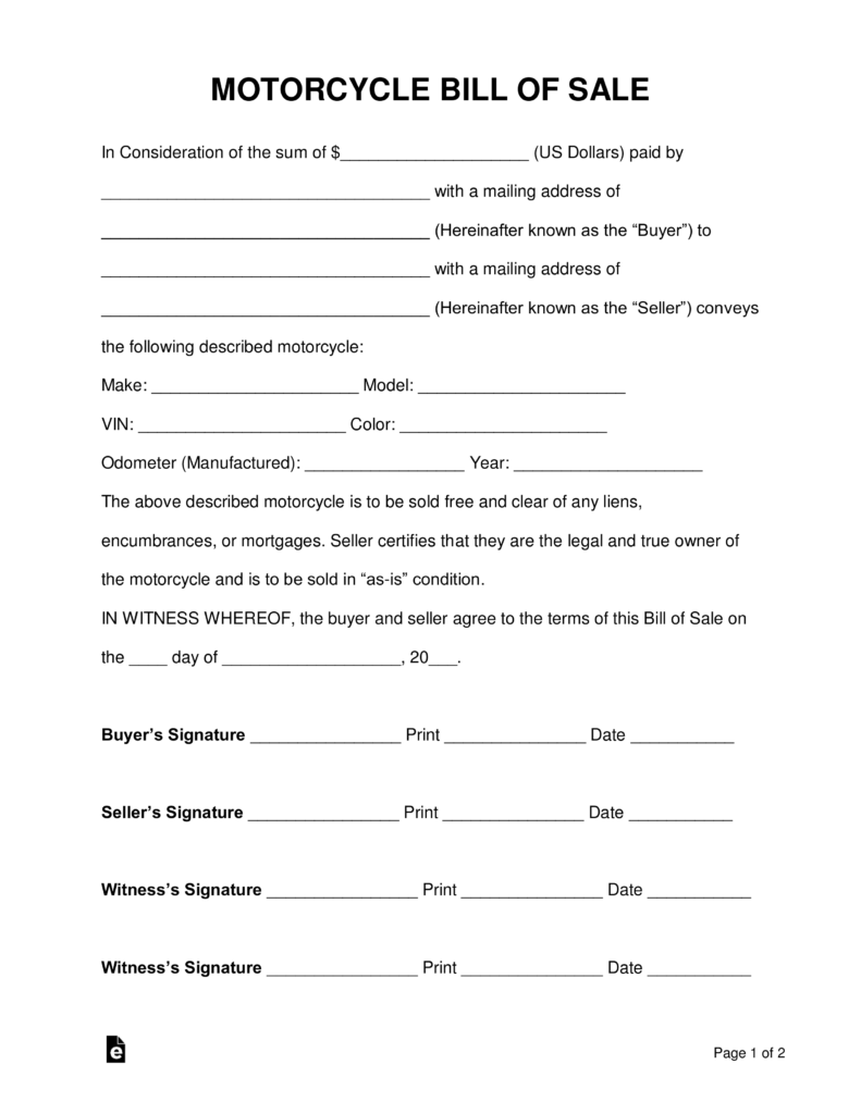 Free Motorcycle Bill Of Sale Form Pdf Word Eforms Free