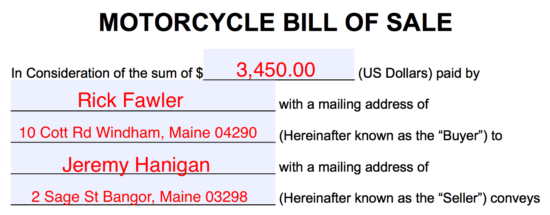 bill of sales motorcycle