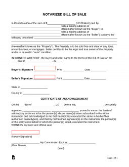 Free Notarized Bill of Sale Form - Word | PDF | eForms