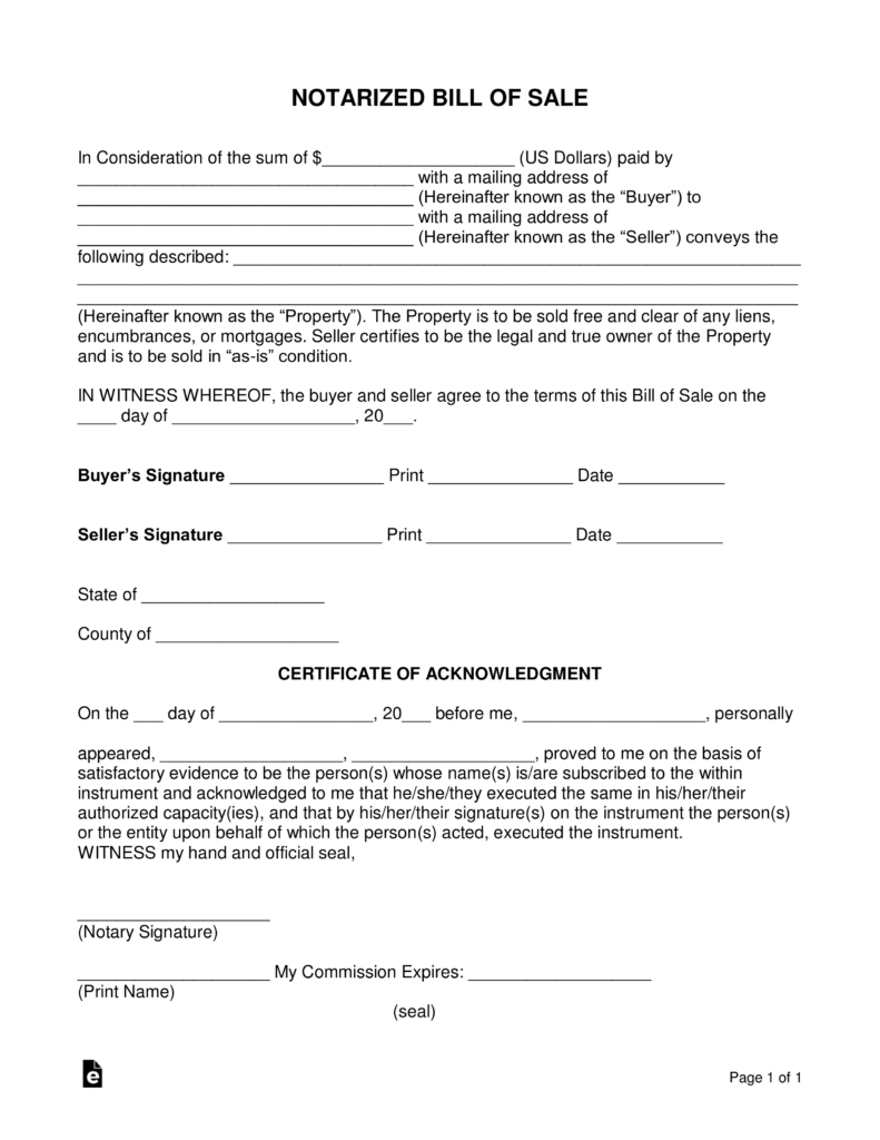 Free Notarized Bill of Sale Form PDF Word – Sample Notary Statements