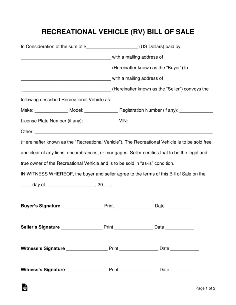 bill of sale for rv Free Recreational Vehicle (RV) Bill of Sale Form - PDF | Word ...
