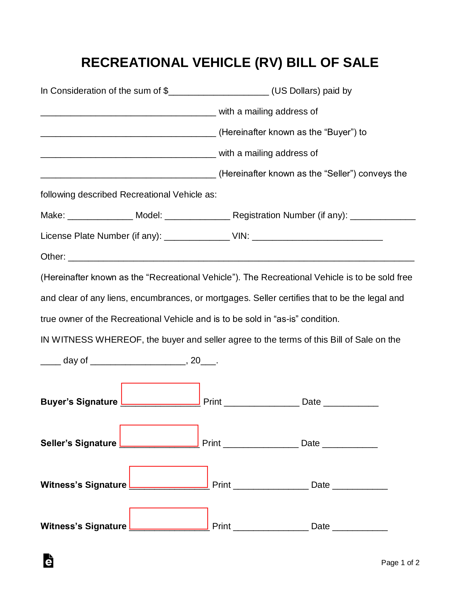 Free Recreational Vehicle Rv Bill Of Sale Form Word