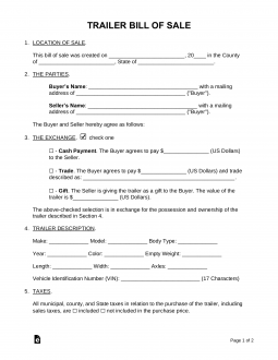 free trailer bill of sale form word pdf eforms free fillable