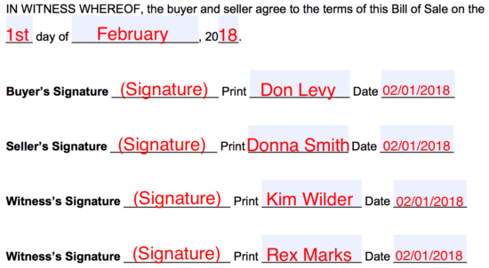 Step 3 – Date(s) and Signatures