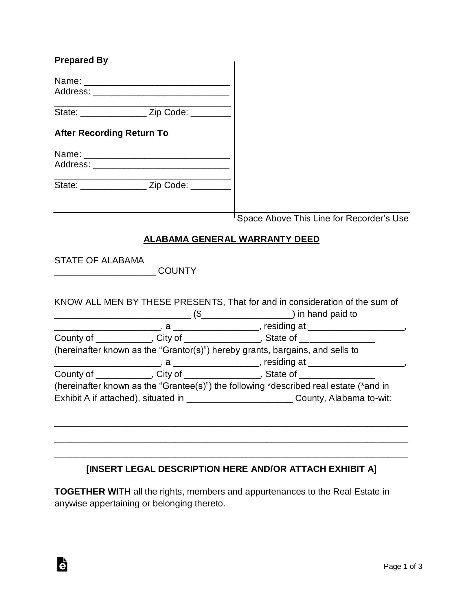 Free Alabama General Warranty Deed Form - Word | PDF