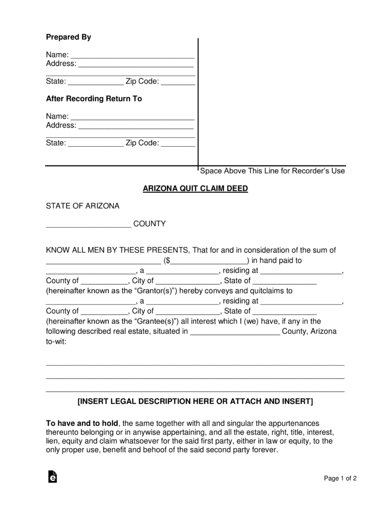 Free Arizona Quit Claim Deed Form - Word | PDF | eForms – Free ...