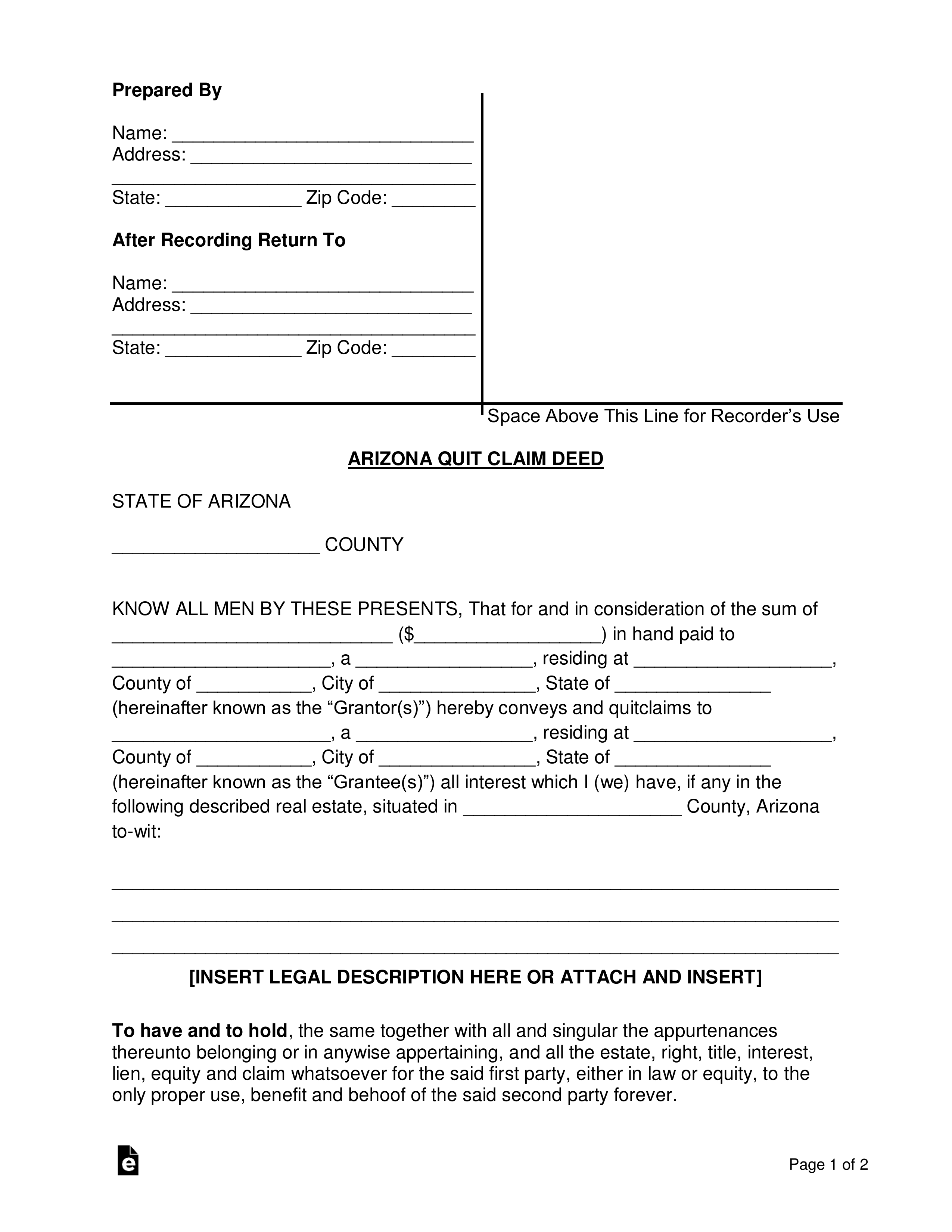 quick claim deed form arizona  Free Arizona Quit Claim Deed Form - Word | PDF | eForms ...