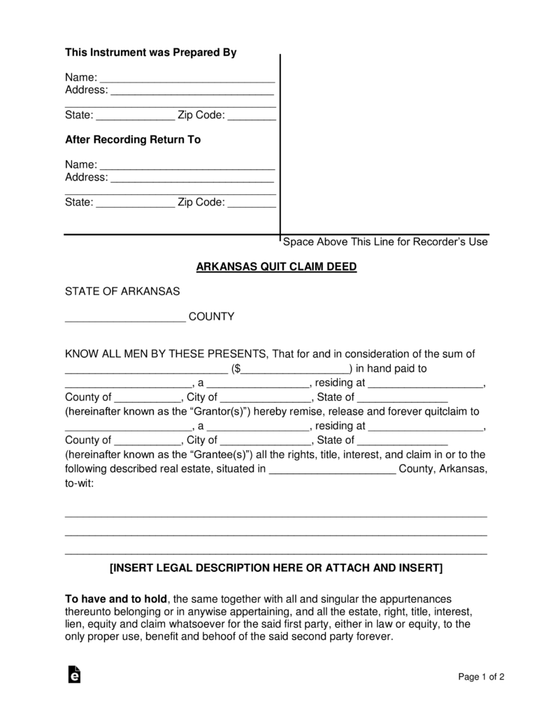 Free Arkansas Quit Claim Deed Form - PDF | Word | eForms ...