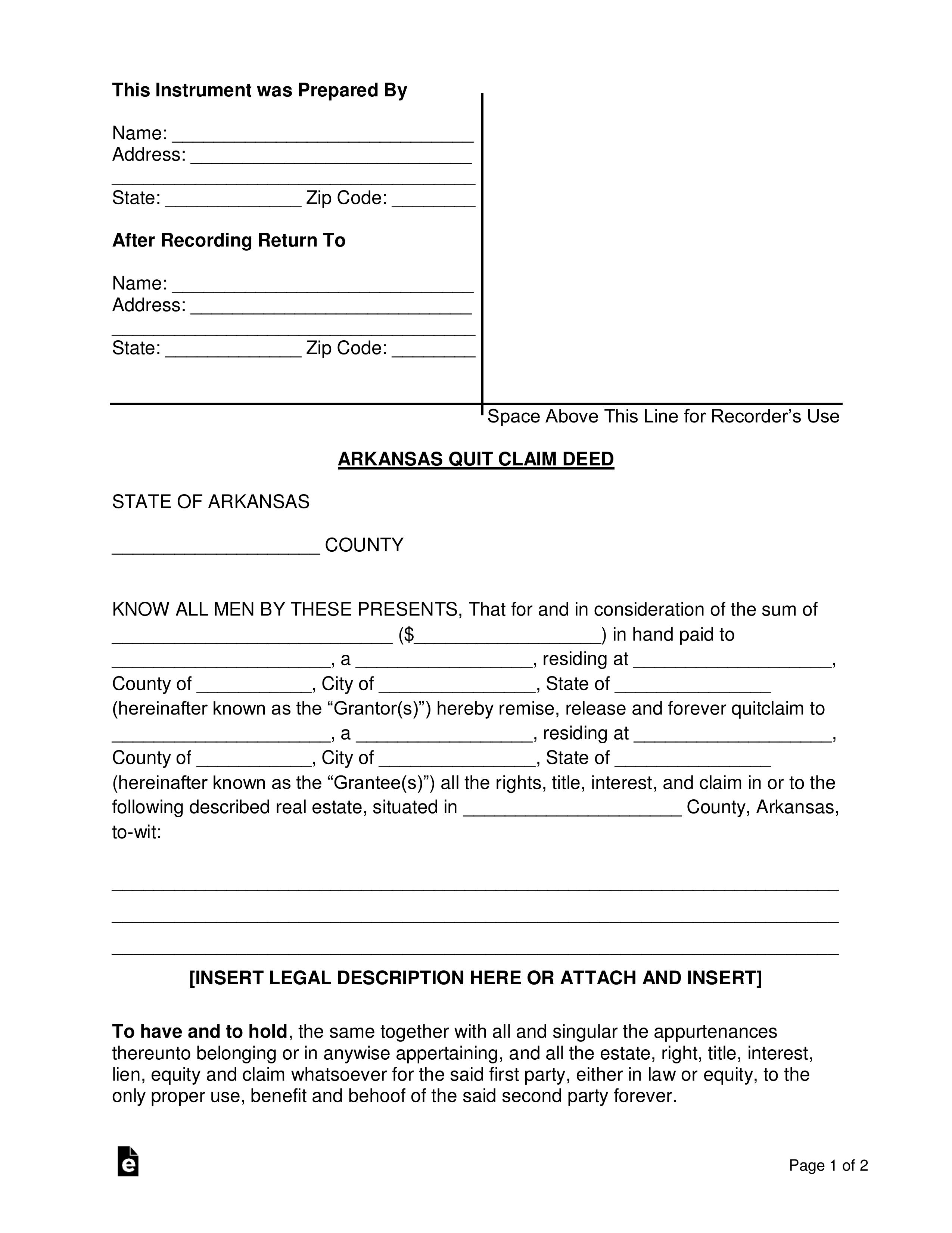 quick claim deed form arkansas  Free Arkansas Quit Claim Deed Form - Word | PDF | eForms ...