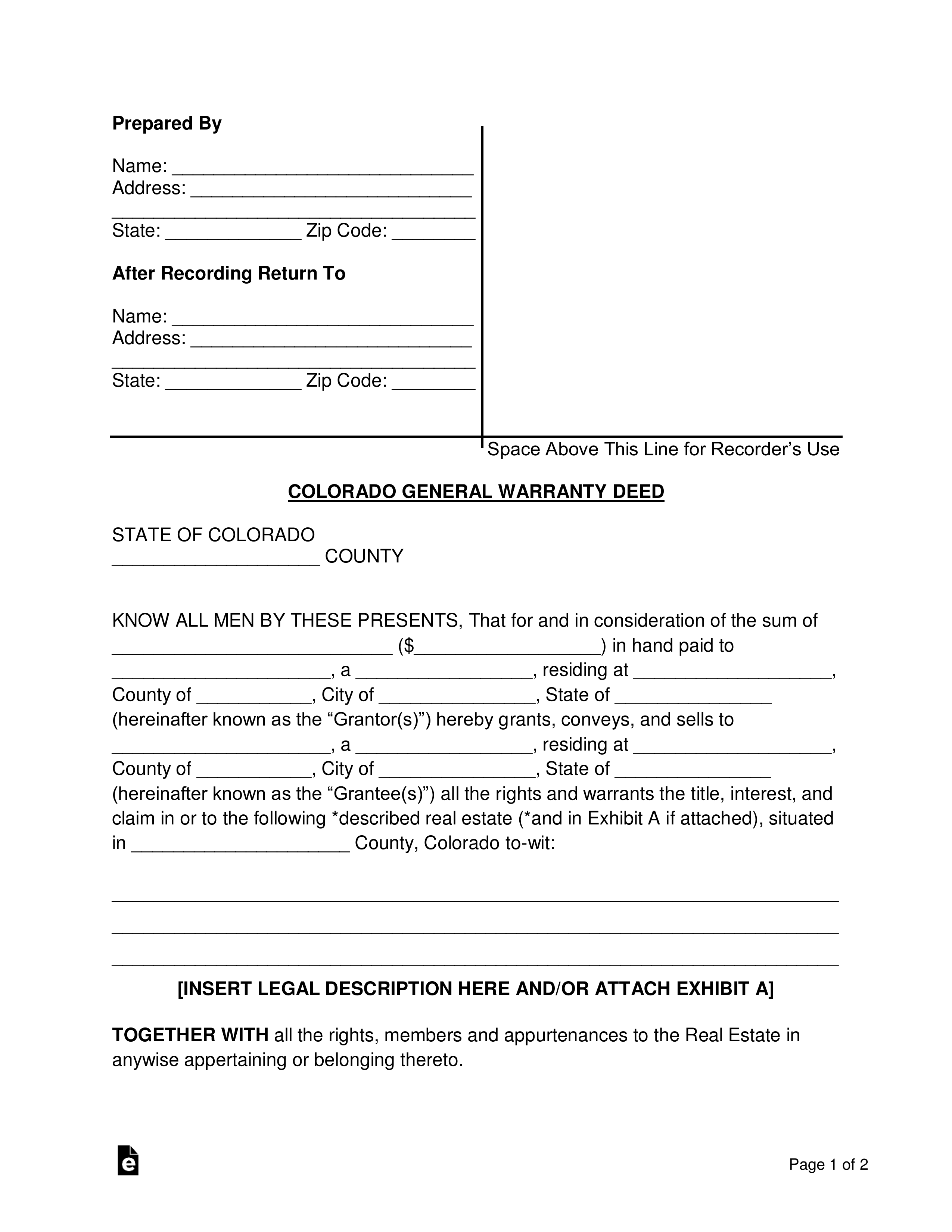 Free Colorado General Warranty Deed Form - Word | PDF