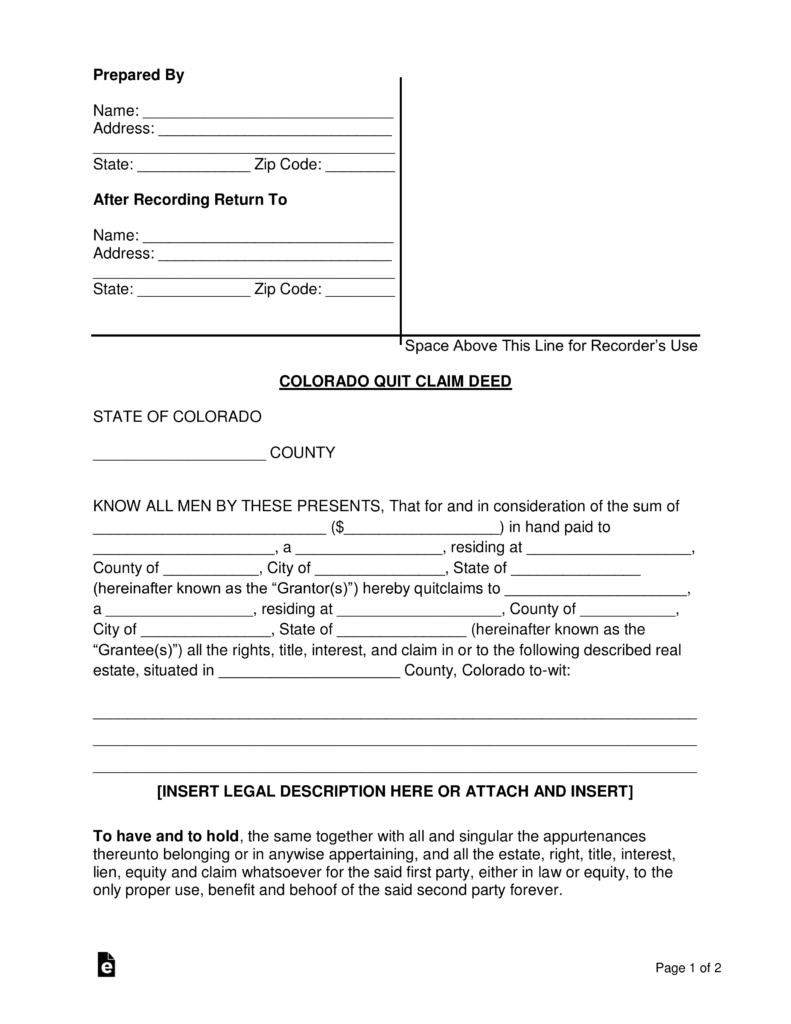 Free Colorado Quit Claim Deed Form   PDF | Word | EForms U2013 Free Fillable  Forms
