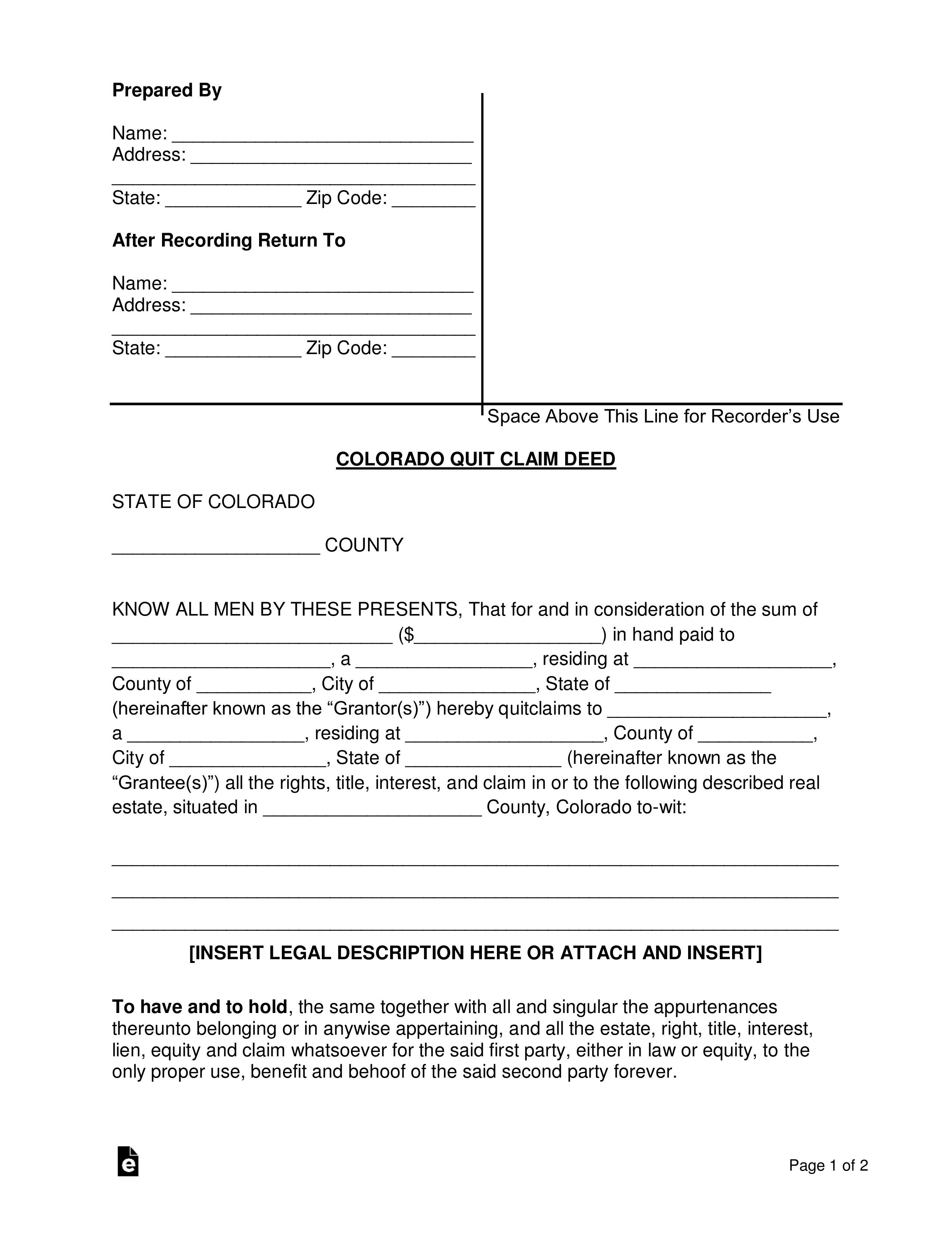 quick claim deed form free download  Free Colorado Quit Claim Deed Form - Word | PDF | eForms ...