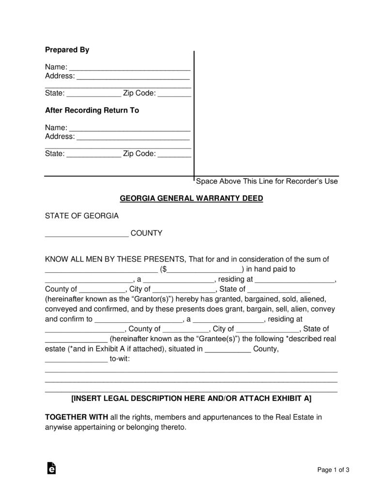 Free Georgia General Warranty Deed Form   PDF | Word | EForms U2013 Free  Fillable Forms