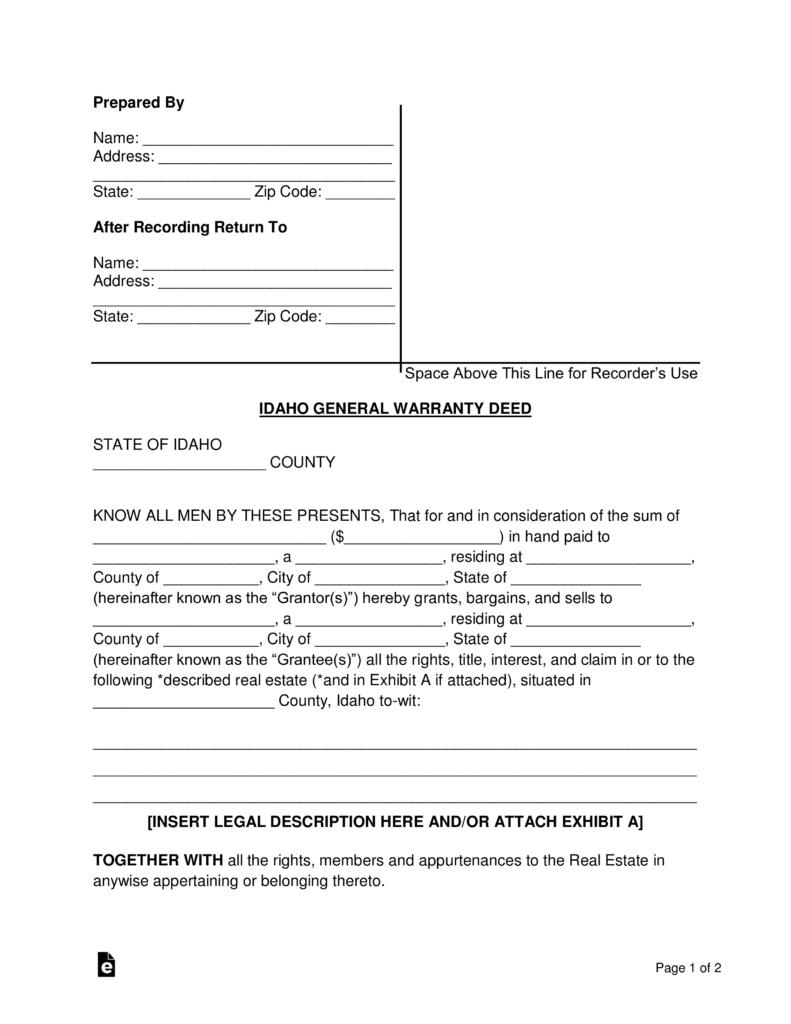Free Idaho General Warranty Deed Form Word PDF EForms Free - Idaho legal forms