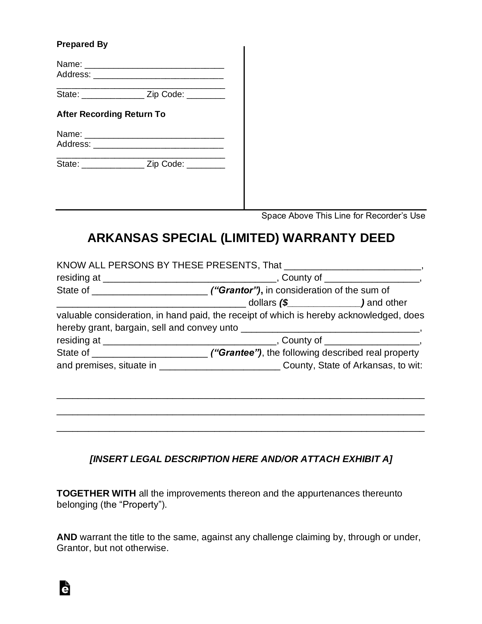 quick claim deed form arkansas  Free Arkansas Special Warranty Deed Form - PDF | Word ...