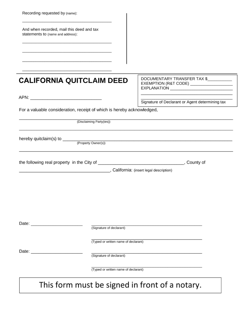 Free California Quit Claim Deed Form   PDF | Word | EForms U2013 Free Fillable  Forms