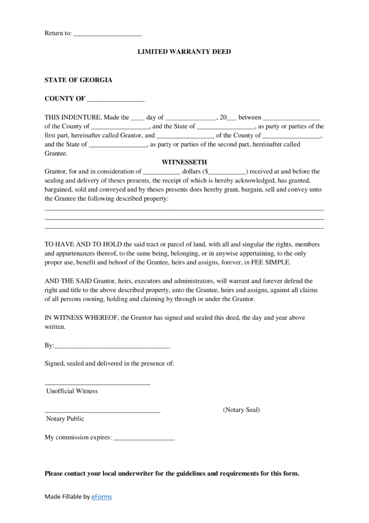 Free Georgia Limited Warranty Deed Form - PDF | Word | eForms ...