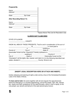 quick claim deed form for illinois  Free Illinois Quit Claim Deed Form - Word | PDF | eForms ...