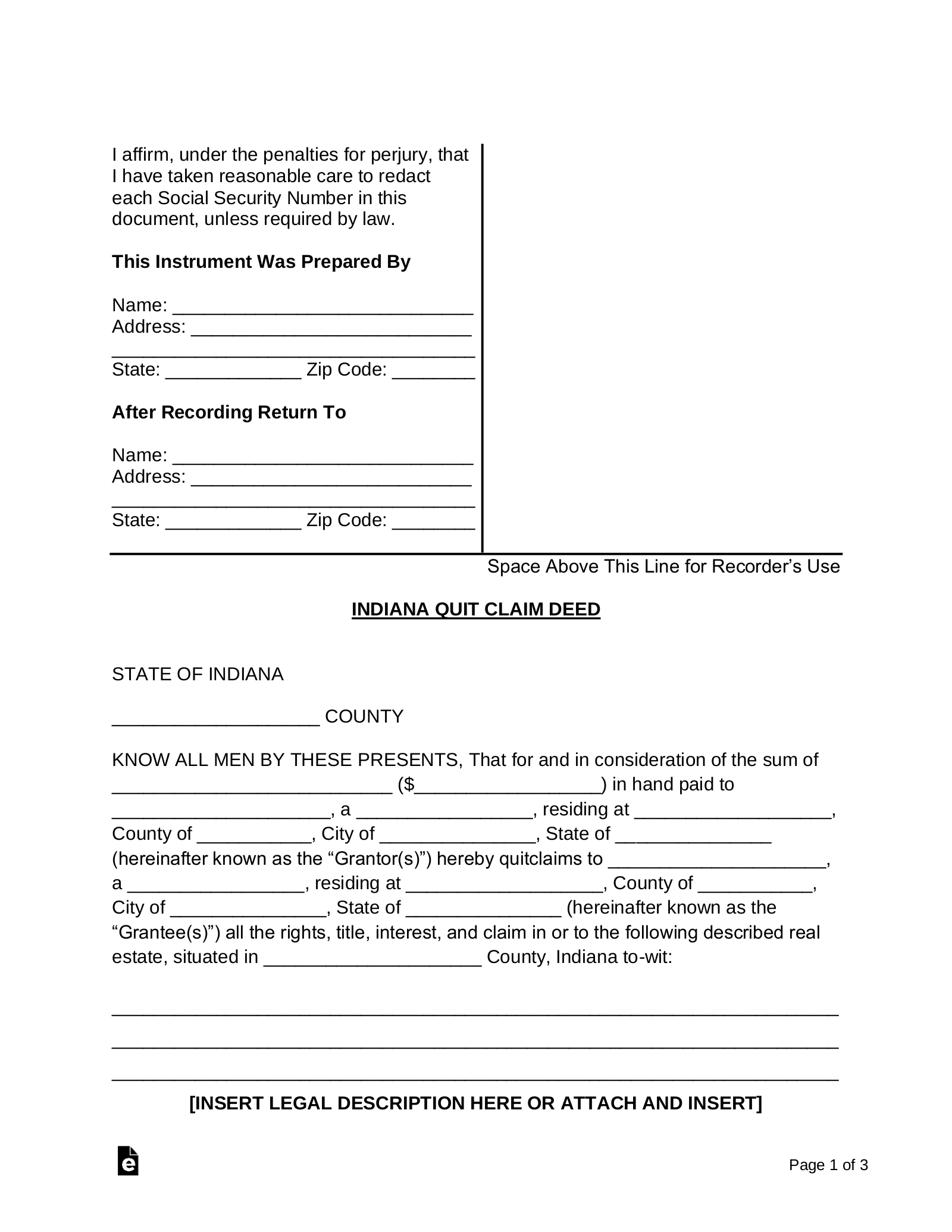 quick claim deed form indiana  Free Indiana Quit Claim Deed Form - Word | PDF | eForms ...