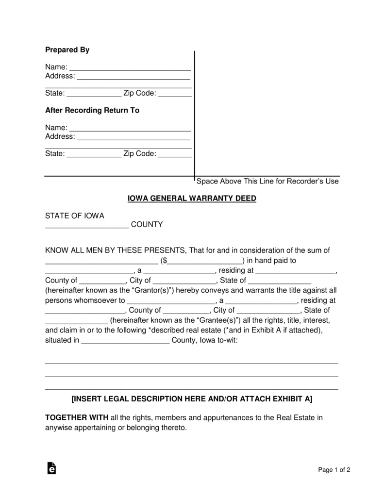 Free Iowa General Warranty Deed Form Word Pdf Eforms Free