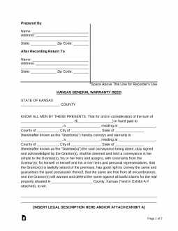 Simple Bill Of Sale >> Free Kansas General (Statutory) Warranty Deed Form - Word ...