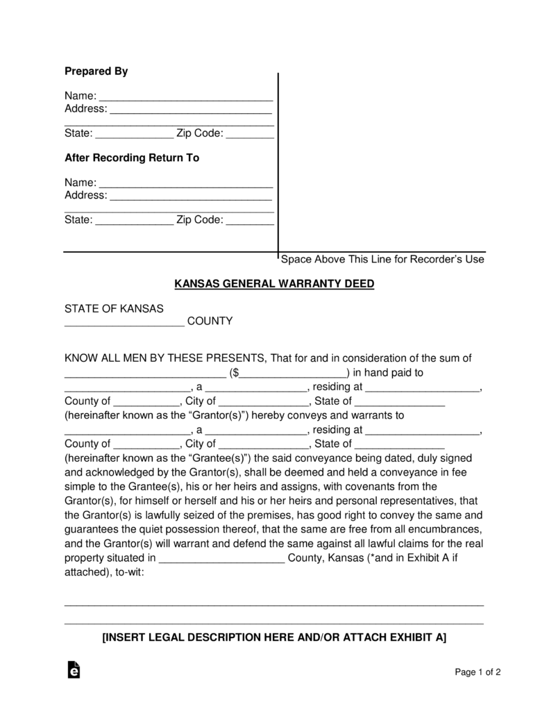 Free Kentucky General Warranty Deed Form PDF Word – General Warranty Deed