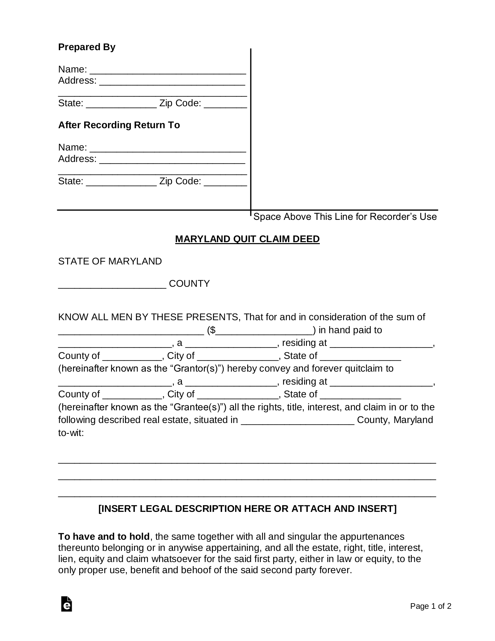 photo relating to Free Printable Blank Quit Claim Deed Form identify Absolutely free Maryland Prevent Assert Deed Style - Term PDF eForms