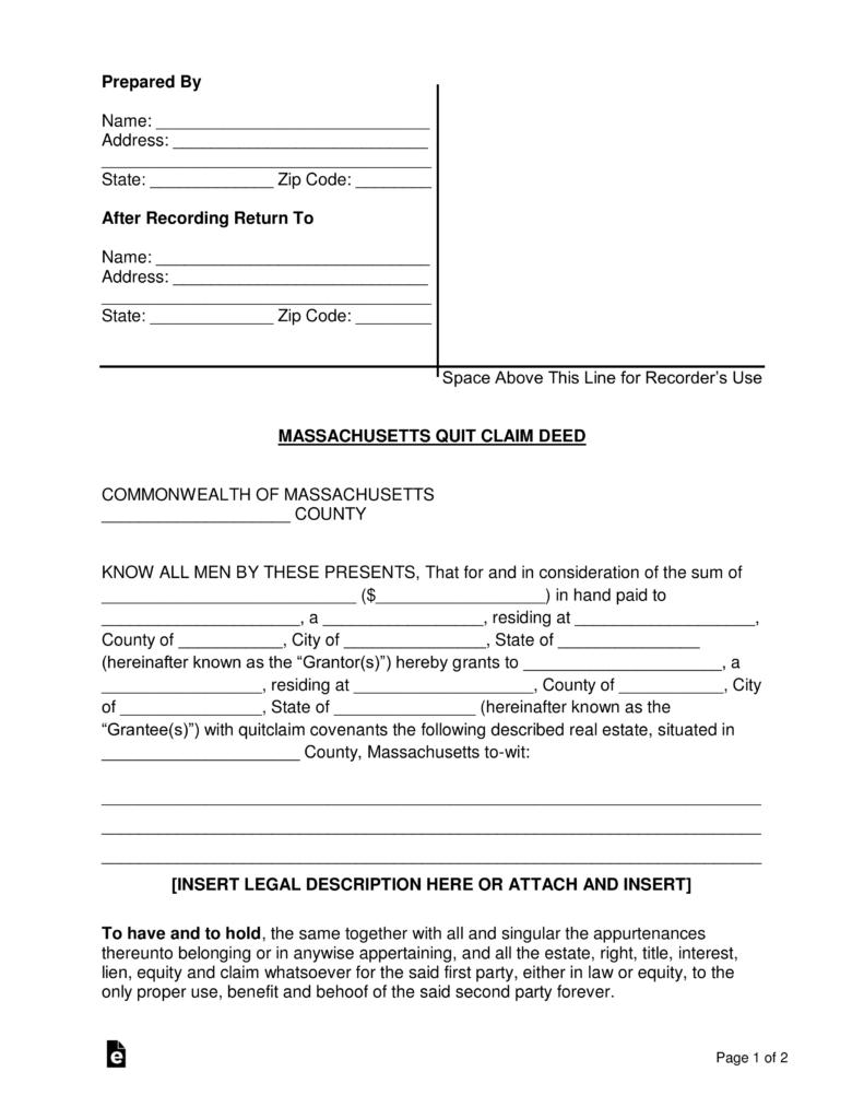 Free Massachusetts Quit Claim Deed Form - PDF | Word | eForms ...
