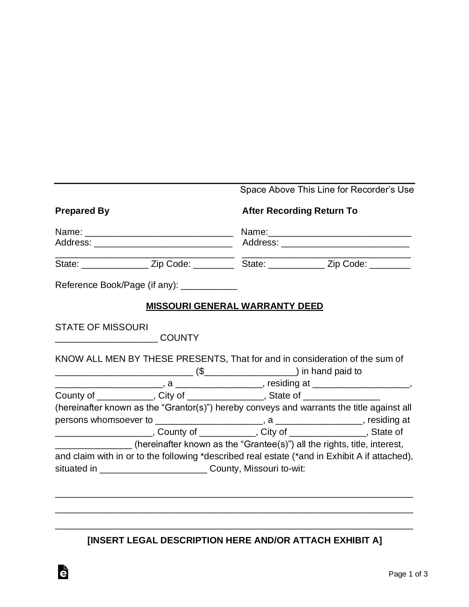 quick claim deed form missouri  Free Missouri General Warranty Deed Form - Word | PDF ...
