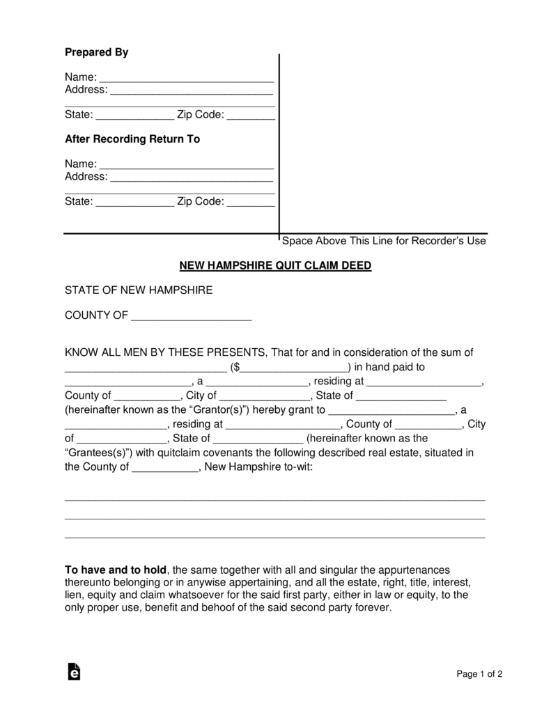 Free New Hampshire Quit Claim Deed Form - PDF   Word   eForms ...