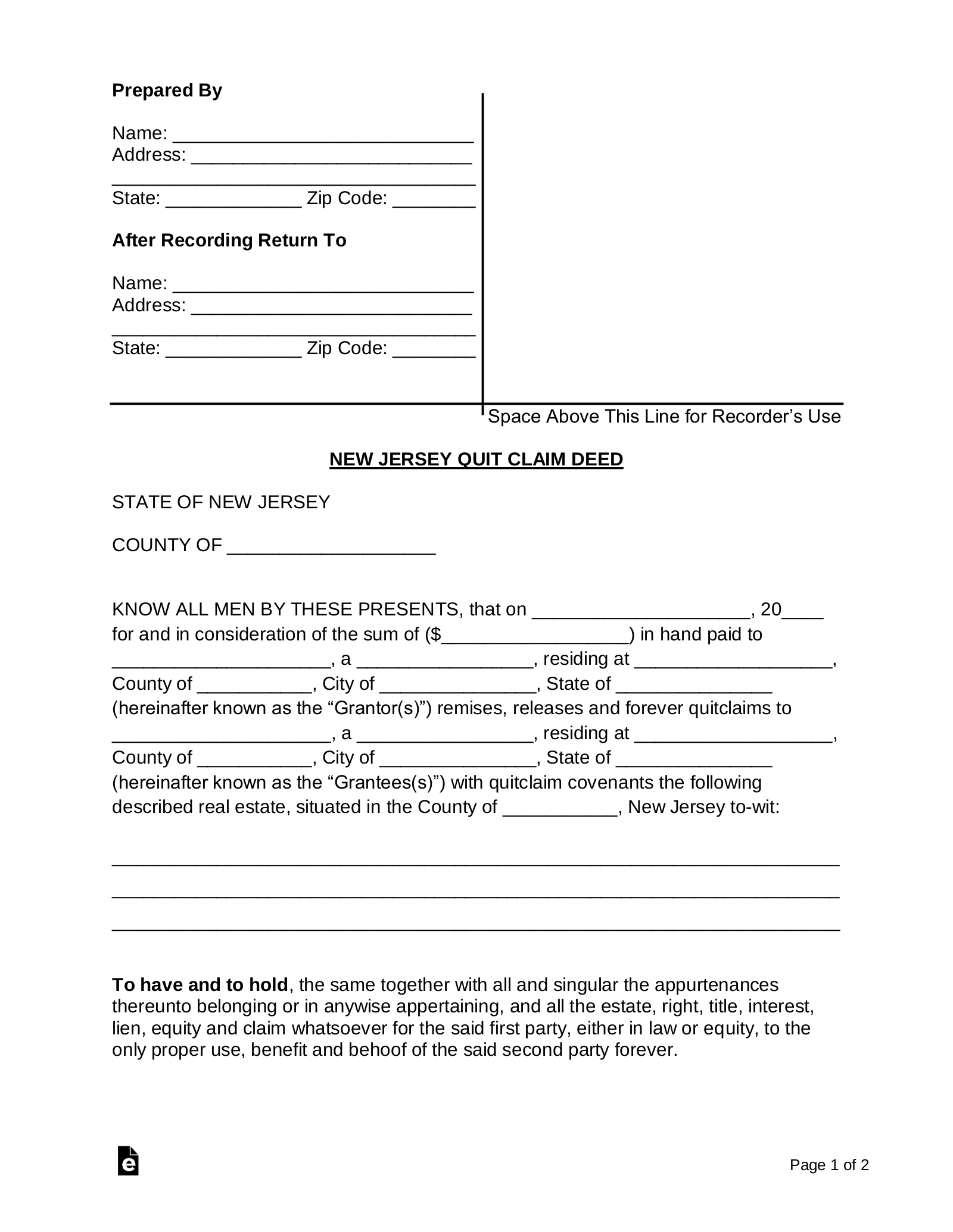 quit claim deed form nj  Free New Jersey Quit Claim Deed Form - PDF | Word | eForms ...