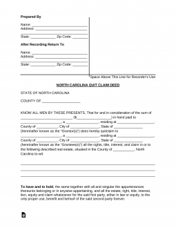 North-Carolina-Quit-Claim-Deed-Form-255x330 Quit Claim Form Example on
