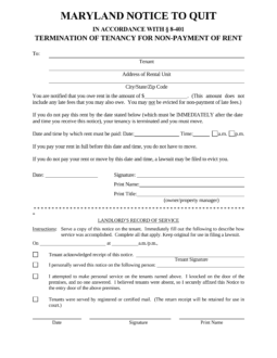 maryland-immediate-notice-to-quit-nonpayment-form-255x330  Day To Vacate Property Letter Template on