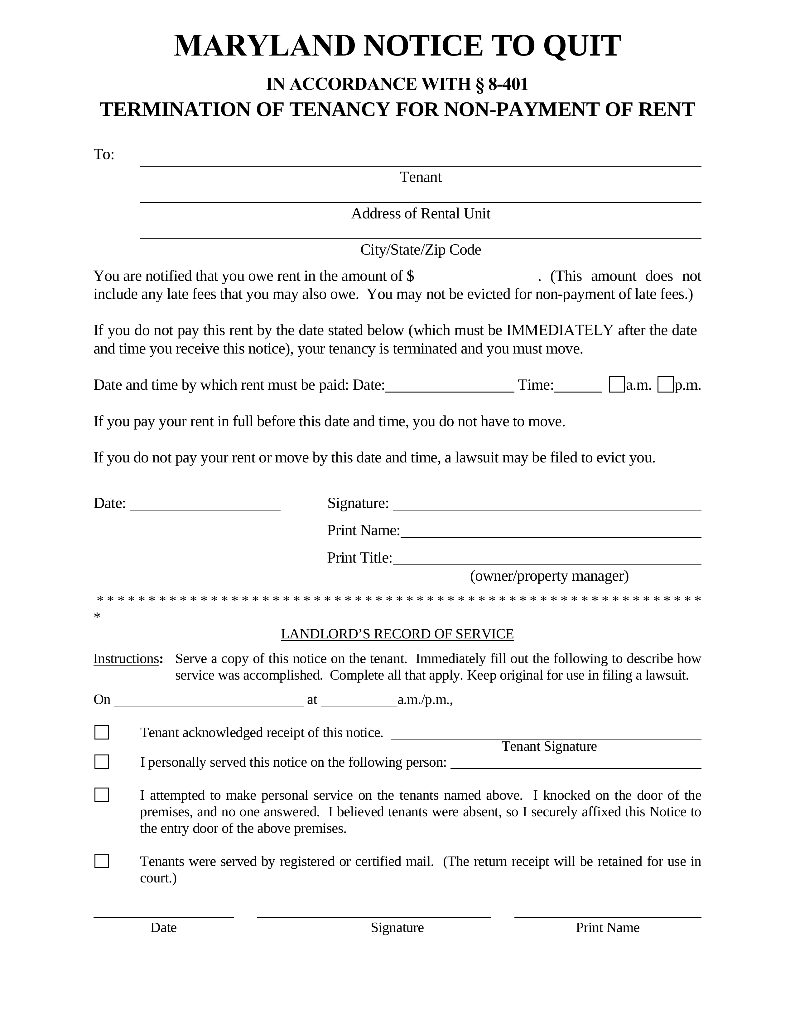 Pay Or Quit Notice Template from eforms.com