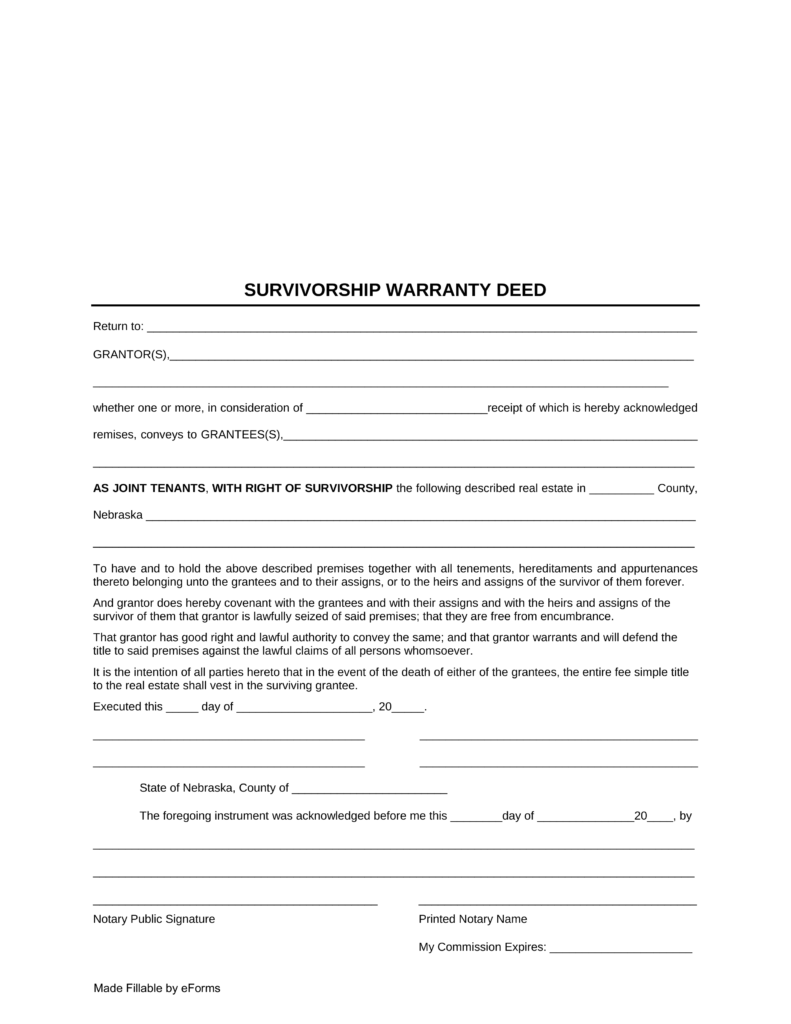 Free Nebraska Survivorship Warranty Deed Form - PDF | eForms ...
