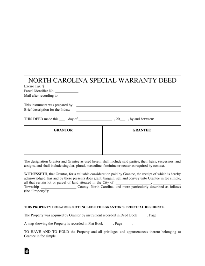 Free North Carolina Special Warranty Deed Form PDF – Warranty Deed Form