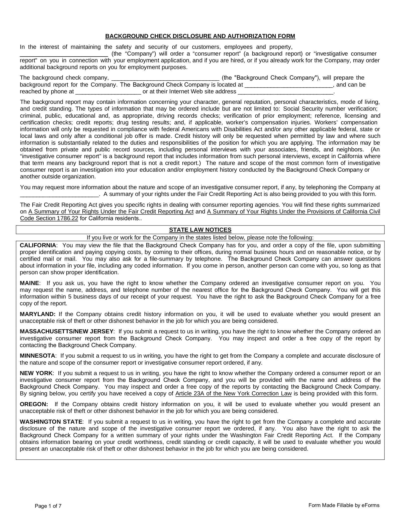 Free Background Check Authorization Form - PDF | eForms