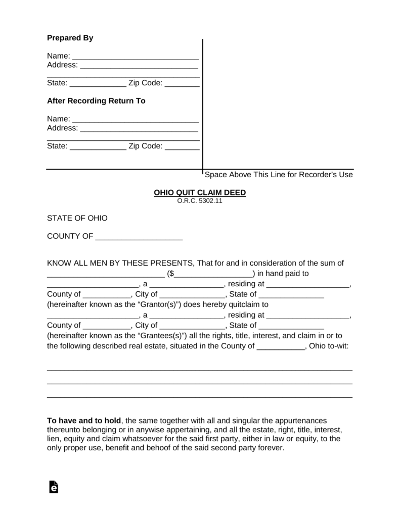 quitclaim deed washington Free Ohio Quit Claim Deed Form - PDF | Word | eForms – Free Fillable ...