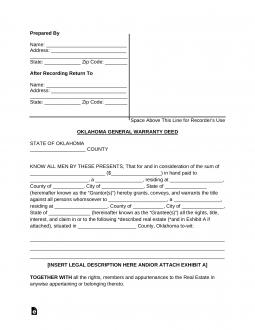Free Oklahoma General Warranty Deed Form - Word | PDF
