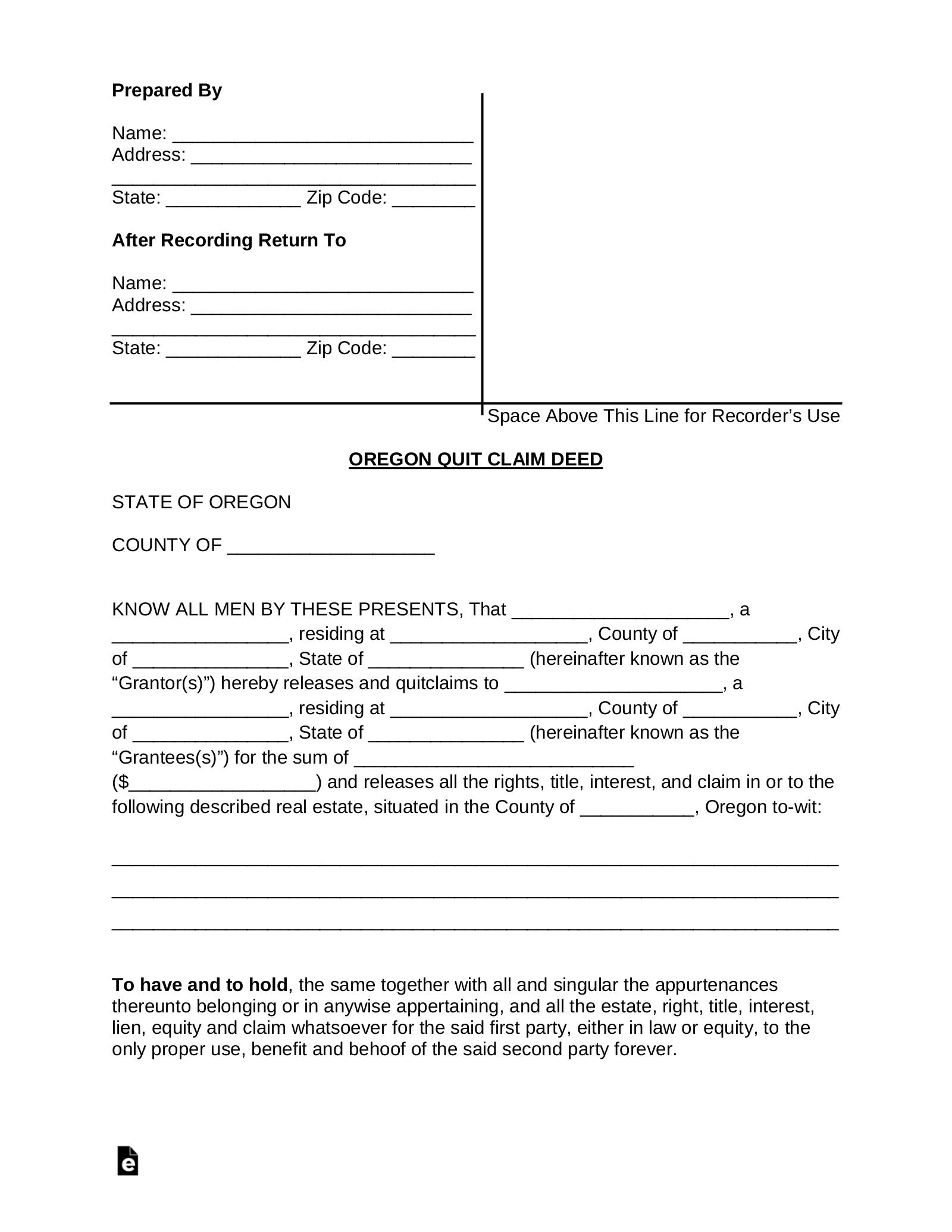 quick claim deed form oregon  Free Oregon Quit Claim Deed Form - Word | PDF | eForms ...