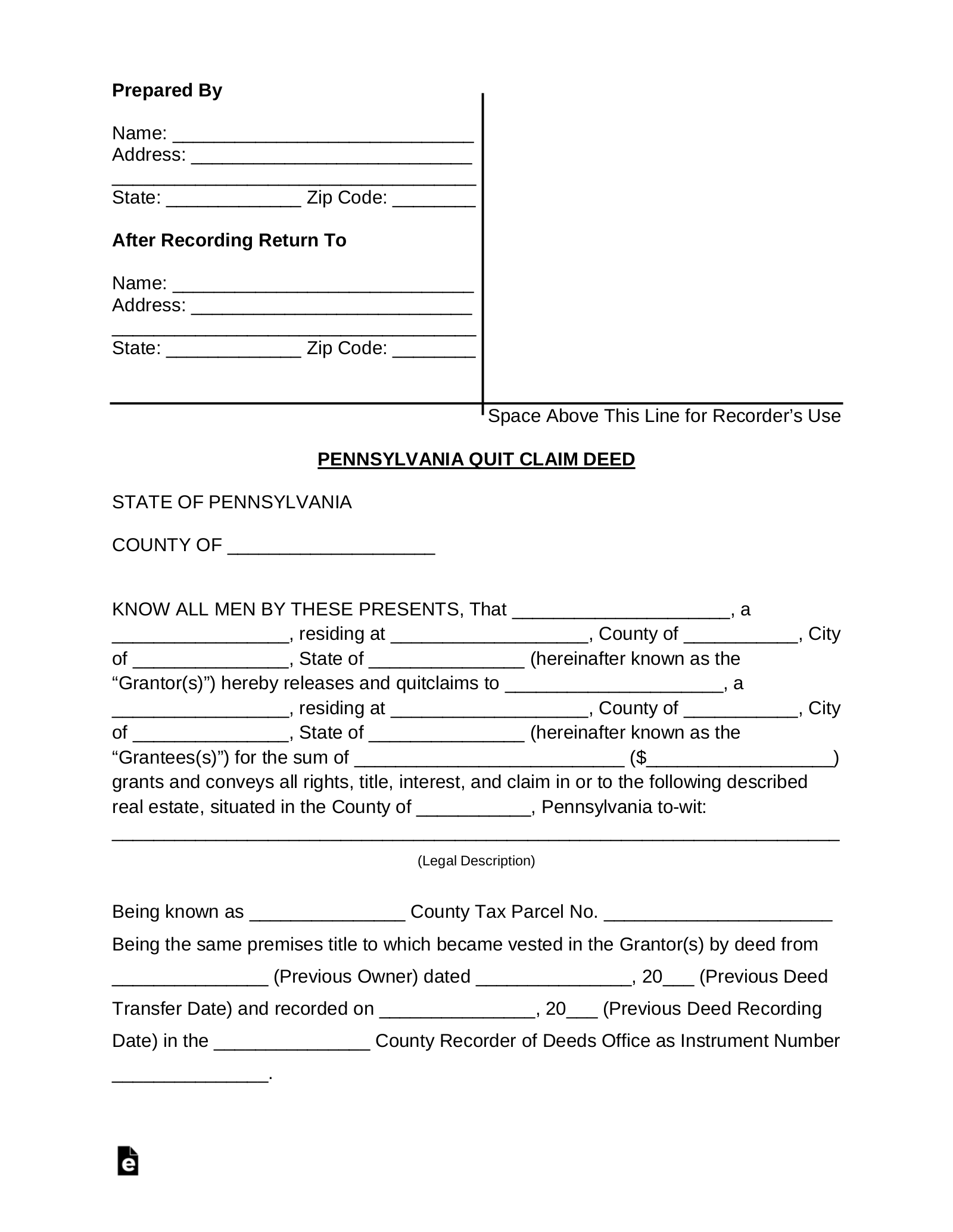 quick claim deed form indiana  Free Pennsylvania Quit Claim Deed Form - Word | PDF | eForms ...